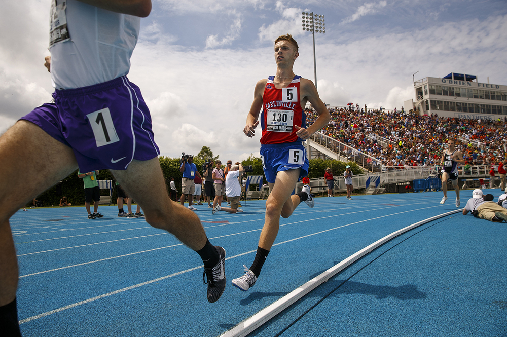Carlinville's Cory Landon trails eventual winner Jon Davis of Fithian during the IHSA Track and Field State Finals at O'Brien Stadium in Charleston, Ill., Saturday, May 28, 2016. Landon finished second in 4:25.07.  Ted Schurter/The State Journal-Register