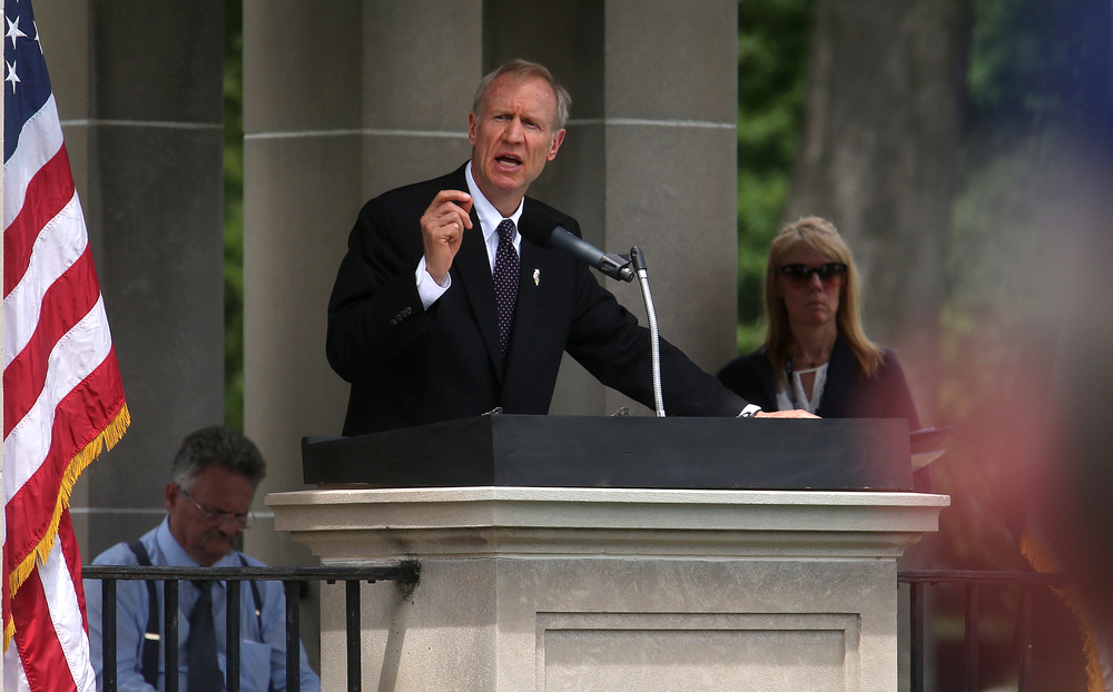 Illinois Governor Bruce Rauner spoke at the ceremony. David Spencer/The State Journal-Register