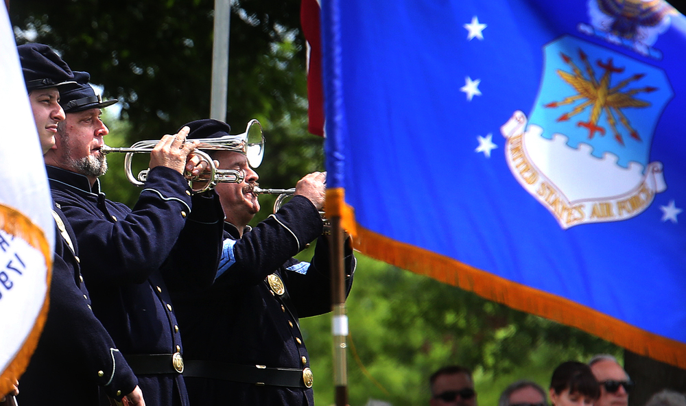 Taps was played by a member of the Sangamon County Inter Veterans Burial Detail as well as several buglers seen here that are members of the 114th Infantry Regiment Illinois Volunteers Reactivated. David Spencer/The State Journal-Register
