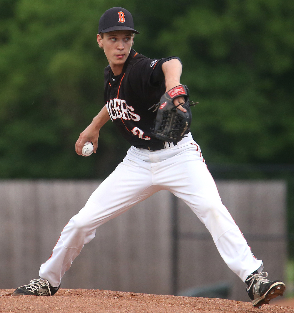 Tigers starting pitcher Dalton Leischner shows his stuff early Monday night. David Spencer/The State Journal-Register