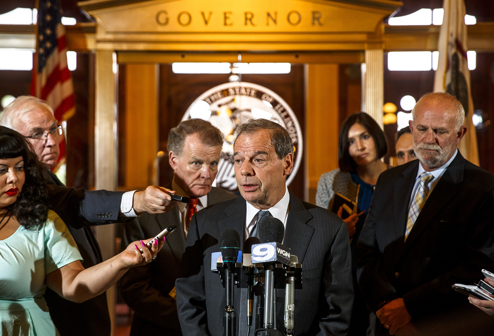 Illinois Senate President John Cullerton, D-Chicago, and Illinois Speaker of the House Michael Madigan, D-Chicago, hold a press conference outside Illinois Gov. Bruce Rauner's office after a leaders meeting on the final day of the spring legislative session at the Illinois State Capitol, Tuesday, May 31, 2016, in Springfield, Ill. Justin L. Fowler/The State Journal-Register