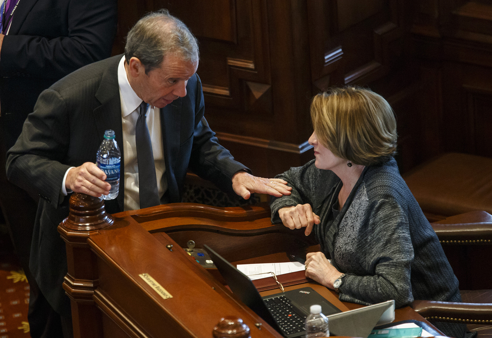 Illinois Senate President John Cullerton, D-Chicago, talks with Illinois Senate Minority Leader Christine Radogno, R-Lemont, on the Senate floor on the final day of the spring legislative session at the Illinois State Capitol, Tuesday, May 31, 2016, in Springfield, Ill. Justin L. Fowler/The State Journal-Register