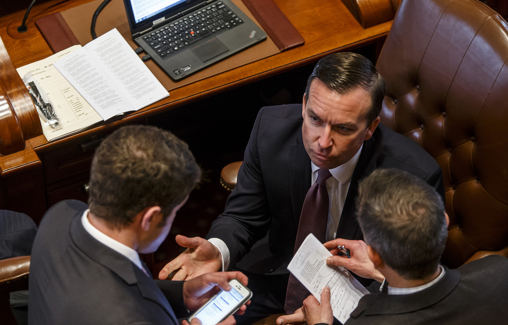 illinois State Sen. Andy Manar, D-Bunker Hill, works from the Senate floor on the final day of the spring legislative session at the Illinois State Capitol, Tuesday, May 31, 2016, in Springfield, Ill. Justin L. Fowler/The State Journal-Register