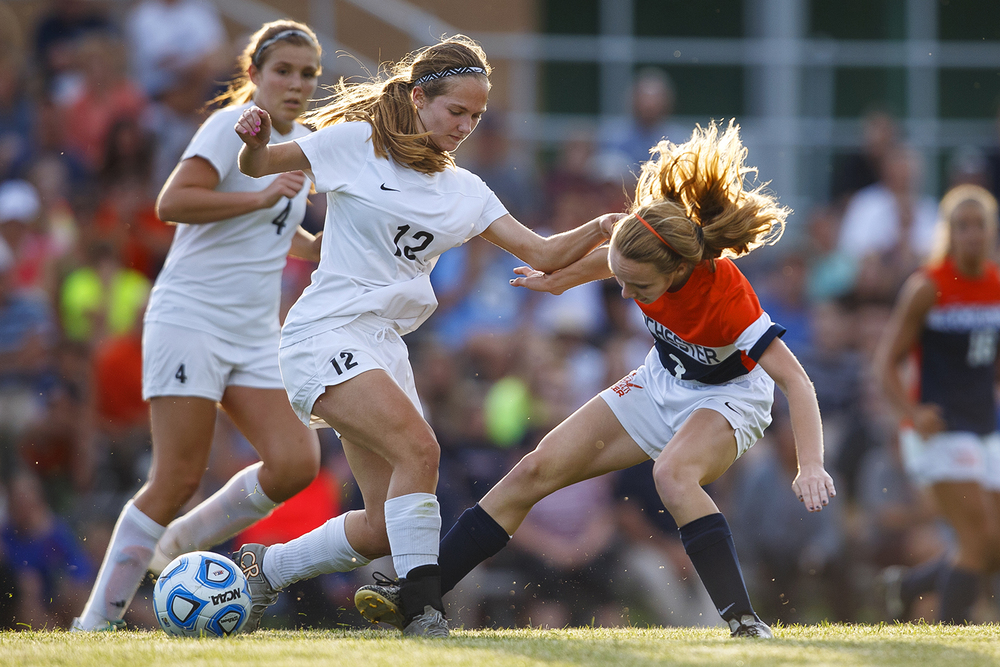 Rochester's Katie Cochran and Normal West's Rylee Billington fight for position during the Class 2A Springfield Supersectional soccer at the University of Illinois Springfield Monday, May 31, 2016. Ted Schurter/The State Journal-Register