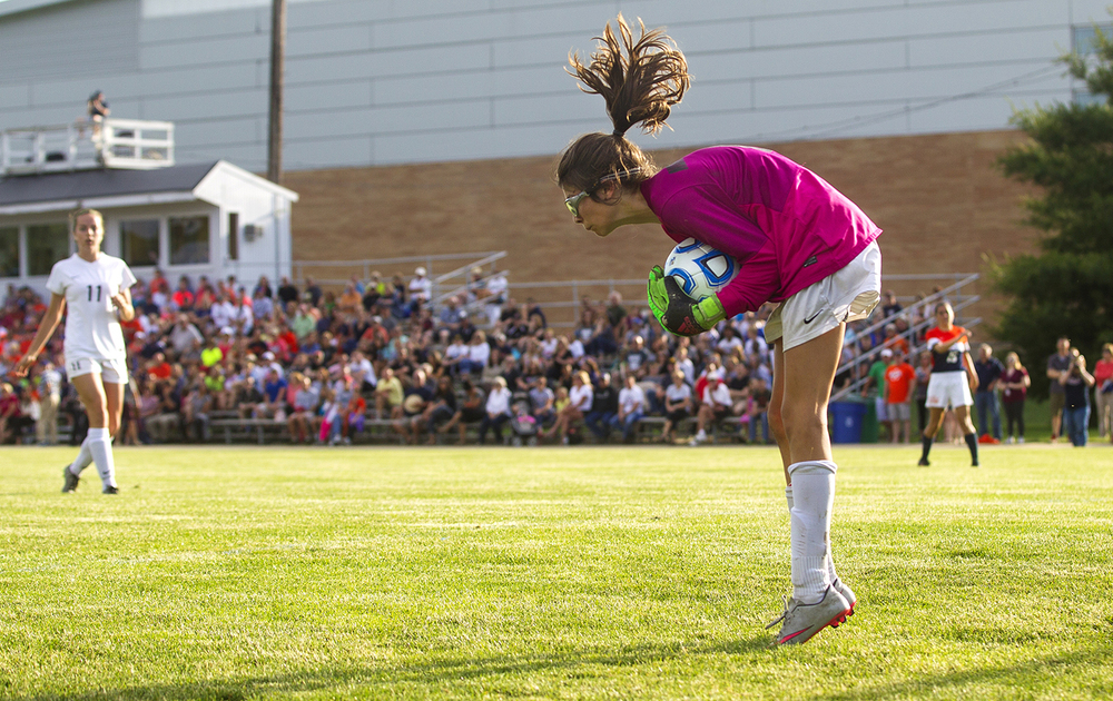 Normal West's keeper Bekah Nielsen makes a stop against Rochester during the Class 2A Springfield Supersectional soccer at the University of Illinois Springfield Monday, May 31, 2016. Ted Schurter/The State Journal-Register