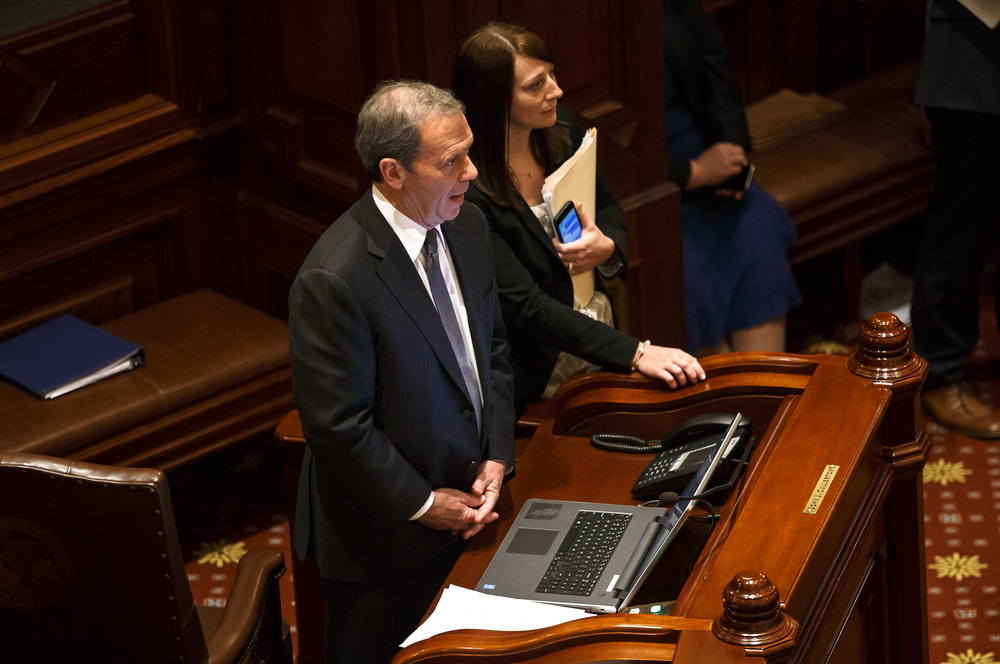 Illinois Senate President John Cullerton, D-Chicago, watches the vote board from the Senate floor as SB 2048, the House Democratic budget bill, fails 17-31-10 on the final day of the spring legislative session at the Illinois State Capitol, Tuesday, May 31, 2016, in Springfield, Ill. Justin L. Fowler/The State Journal-Register