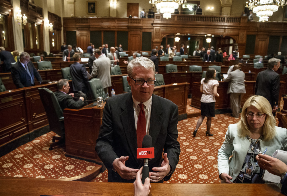 Illinois House Minority Leader Jim Durkin, R-Western Springs, talks to the media on the House floor after HB 2990 failed in the House with a vote of 24-92 twenty minutes before the midnight deadline on the final day of the spring legislative session at the Illinois State Capitol, Tuesday, May 31, 2016, in Springfield, Ill. Justin L. Fowler/The State Journal-Register