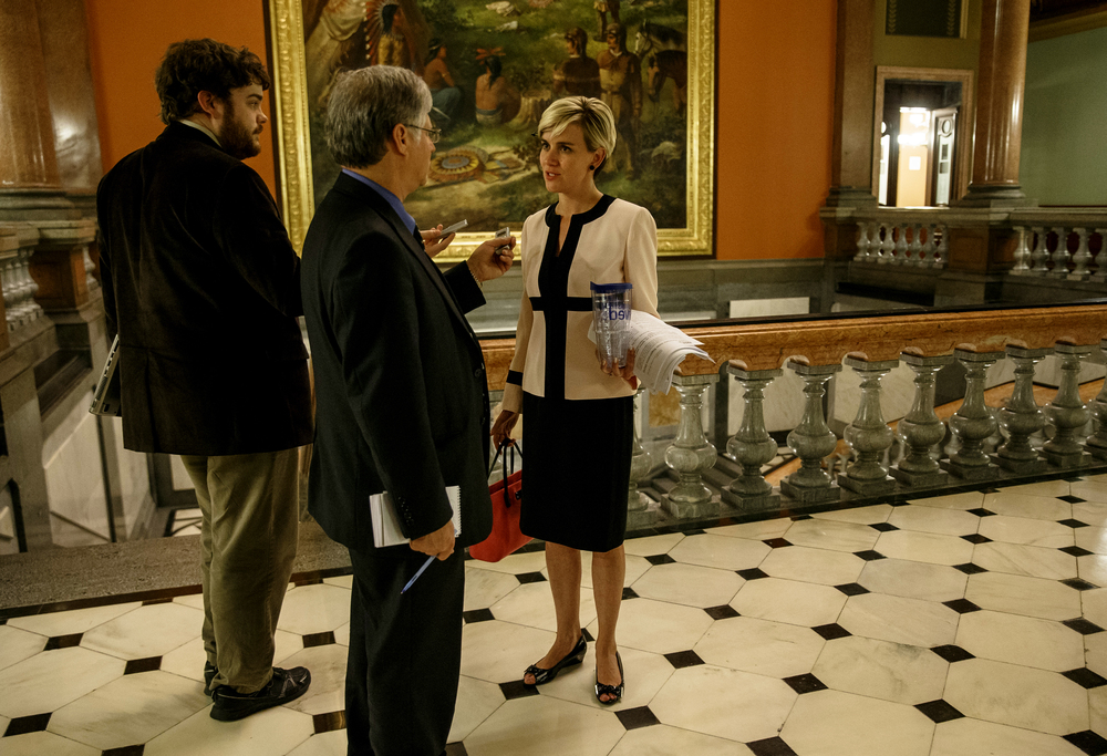 Rep. Sara Wojcicki Jimenez, R-Leland Grove, talks with the media after the House adjourned on the final day of the spring legislative session at the Illinois State Capitol, Tuesday, May 31, 2016, in Springfield, Ill. Justin L. Fowler/The State Journal-Register