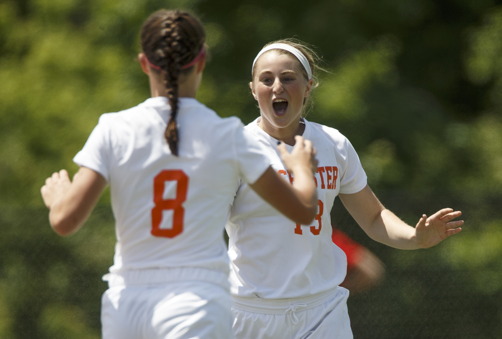 Rochester's Baylee Smith (13) celebrates her goal in the third minute with Rochester's Amanda Williams (8) against Sycamore in the first half during the IHSA Class 2A Girls State Soccer Tournament semifinals at North Central College, Friday, June 3, 2016, in Naperville, Ill. Justin L. Fowler/The State Journal-Register