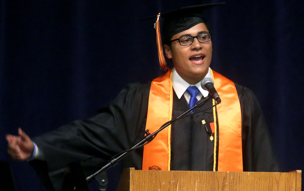 Lanphier Class of 2016 President Caleb Crawford spoke Saturday morning. David Spencer/The State Journal- Register