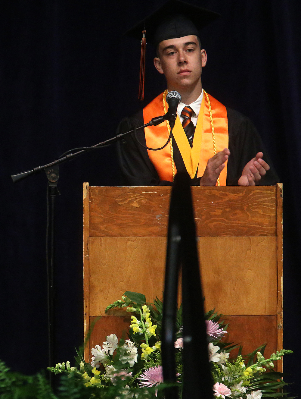 Lanphier Valedictorian Thomas Dane Jr. acknowledged the audience while speaking Saturday morning. David Spencer/The State Journal- Register