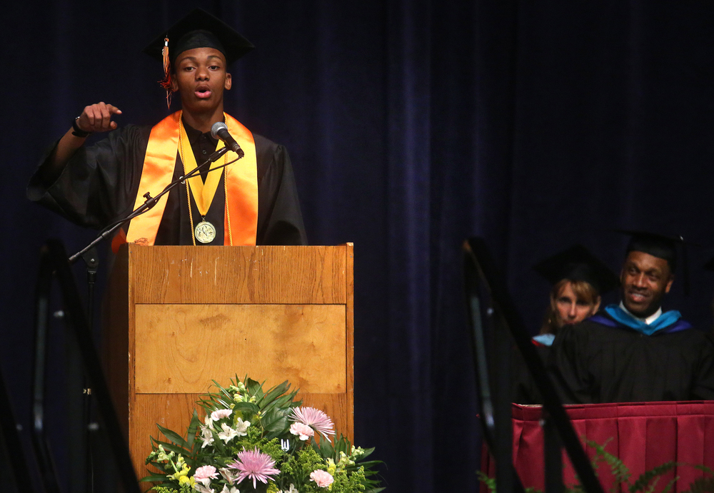 Lanphier Salutatorian Eric Mason emphasized a point while speaking Saturday morning. David Spencer/The State Journal- Register