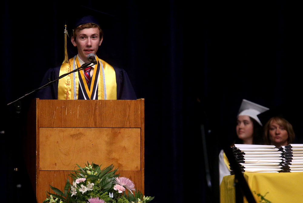 Salutatorian Blake Roberts spoke Saturday. Class Valedictorian was Curry Buscher. David Spencer/The State Journal- Register