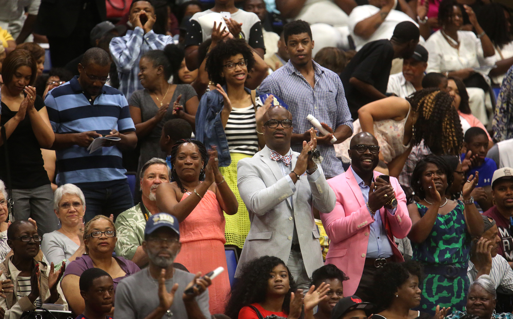"Audience members stood and gave Southeast graduate Calia Cole a standing ovation for her version of ""I will Always Love You"" by Whitney Houston. David Spencer/The State Journal- Register"