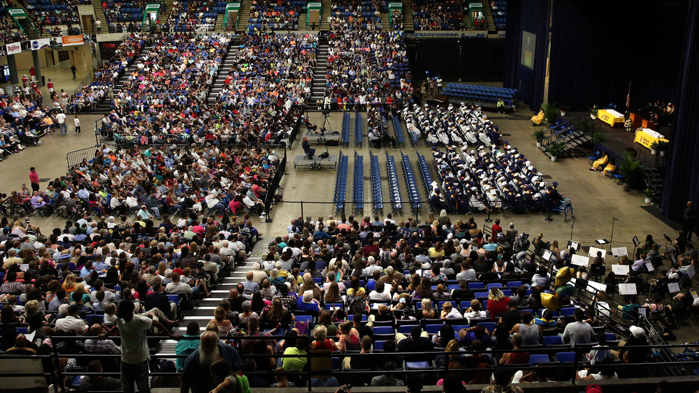 An overall view of the Southeast High School Commencement from high above the PCCC. David Spencer/The State Journal- Register