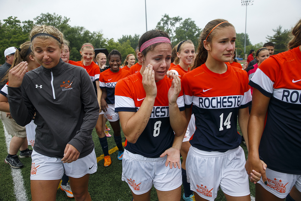 Rochester's Amanda Williams cries tears of joy as she celebrates on the field with the Rockets after defeating Deerfield during the girls Class 2A Soccer State Championship at at North Central College in Naperville, Ill., Saturday, June 4, 2016. Ted Schurter/The State Journal-Register