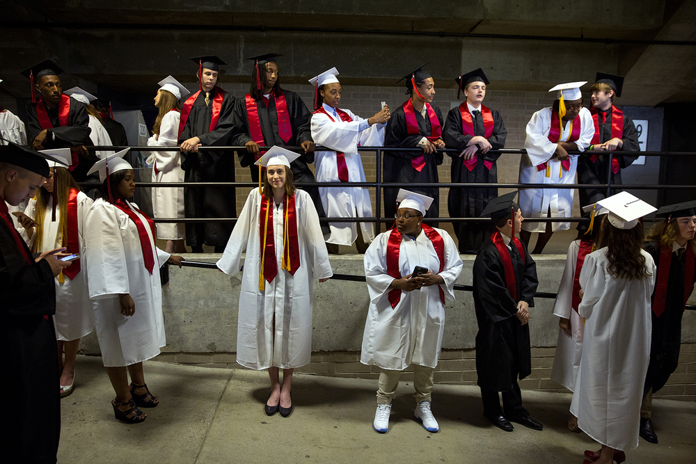 Springfield High School seniors line up before processing into the Prairie Capital Convention Center for graduation Saturday, June 4, 2016. Rich Saal/The State Journal-Register