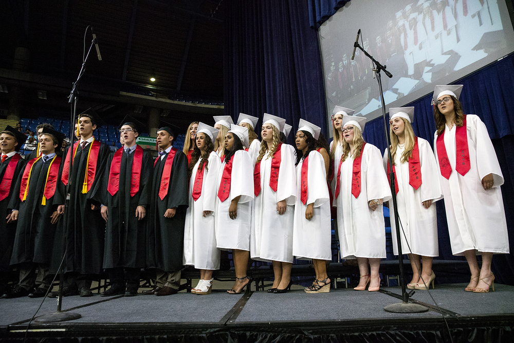 "Senior choral members perform ""I'll be Seeing You"" during the Springfield High School graduation Saturday, June 4, 2016 at the Prairie Capital Convention Center. Rich Saal/The State Journal-Register"
