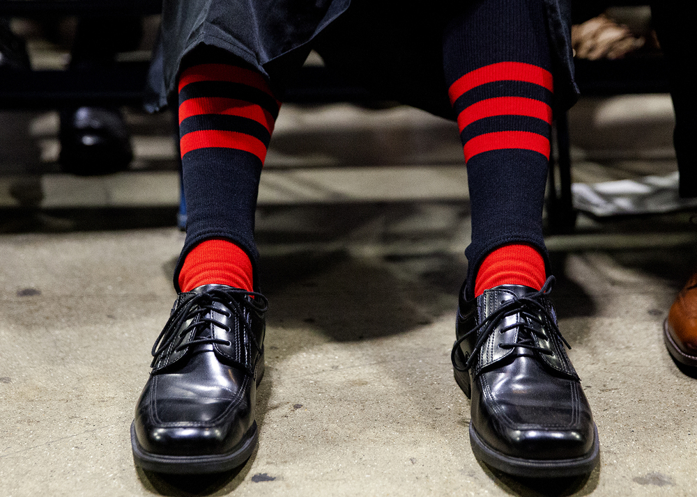Jacob Langellier wears the socks from his baseball uniform to the Springfield High School graduation Saturday, June 4, 2016 at the Prairie Capital Convention Center. The Senators won the IHSA Class 3A sectional title game earlier Saturday. Rich Saal/The State Journal-Register