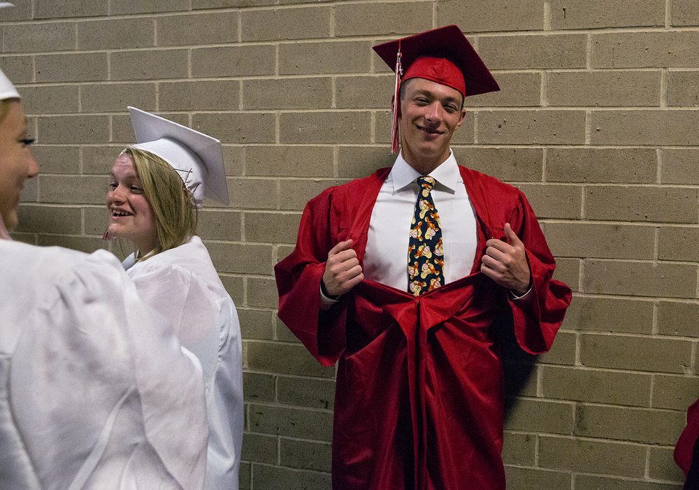 Connor Dowd sports a Tigger tie to the Glenwood High School graduation Saturday, June 4, 2016 at the Prairie Capital Convention Center. Rich Saal/The State Journal-Register