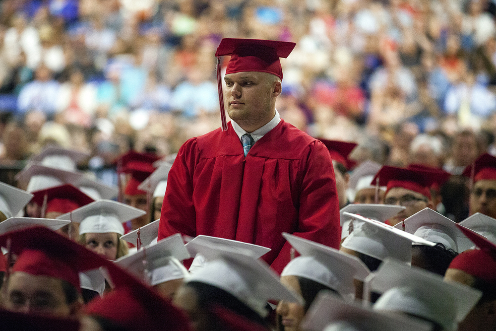 Walter Drennan was one of the several Glenwood High School graduates who were recognized for their commitment to join the military during their graduation Saturday, June 4, 2016 at the Prairie Capital Convention Center. Drennan will join the U.S. Marine Corps. Rich Saal/The State Journal-Register