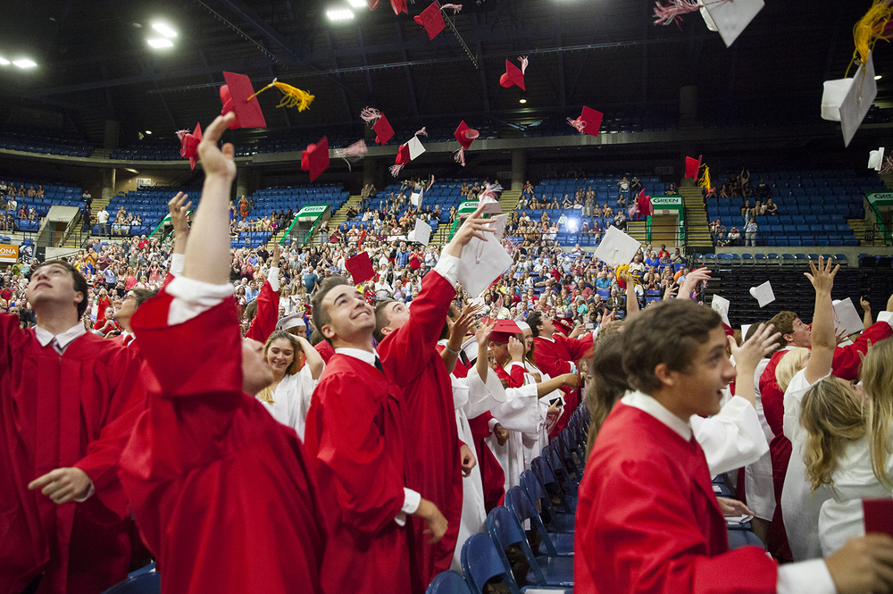 Seniors celebrate at the conclusion of Glenwood High School's graduation Saturday, June 4, 2016 at the Prairie Capital Convention Center. Rich Saal/The State Journal-Register
