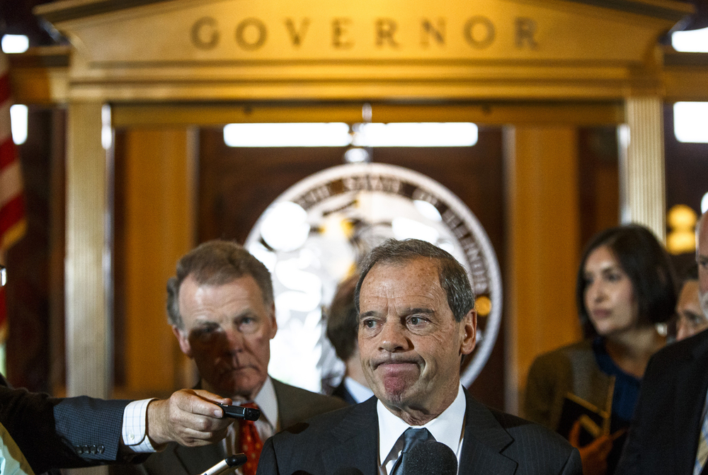 Illinois Senate President John Cullerton, D-Chicago, speaks during a press conference with Illinois Speaker of the House Michael Madigan, D-Chicago, outside Illinois Gov. Bruce Rauner's office after a leaders meeting on the final day of the spring legislative session at the Illinois State Capitol, Tuesday, May 31, 2016, in Springfield, Ill. Justin L. Fowler/The State Journal-Register