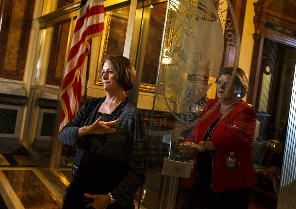 Illinois Senate Minority Leader Christine Radogno, R-Lemont, exits Illinois Gov. Bruce Rauner's office after a leaders meeting on the final day of the spring legislative session at the Illinois State Capitol, Tuesday, May 31, 2016, in Springfield, Ill. Justin L. Fowler/The State Journal-Register