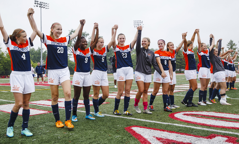 The Rochester Rockets acknowledge their fans after defeating Deerfield during the girls Class 2A Soccer State Championship at at North Central College in Naperville, Ill., Saturday, June 4, 2016. Ted Schurter/The State Journal-Register