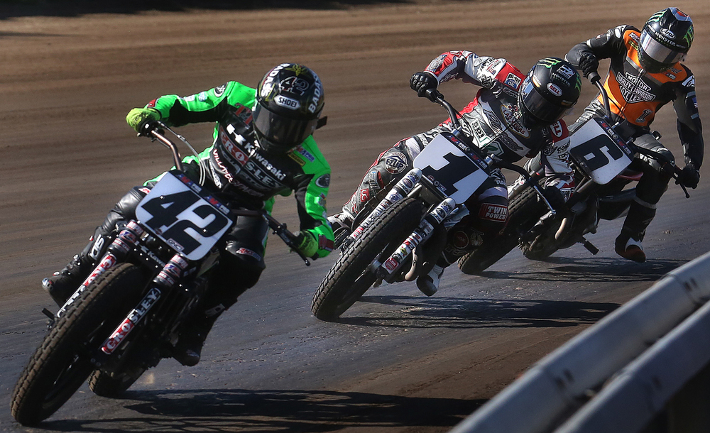 Rounding the fourth turn are eventual winner Bryan Smith at front followed by Jared Mees and Brad Baker. This was also the order of finish for the race. Bryan Smith of Flint, MI won his third straight Springfield Mile Sunday afternoon. The AMA Pro Flat Track Grand National Championship Springfield Mile motorcycle race was held at the Illinois State Fairgrounds in Springfield, Ill on Sunday, May 29, 2016. David Spencer/The State Journal-Register