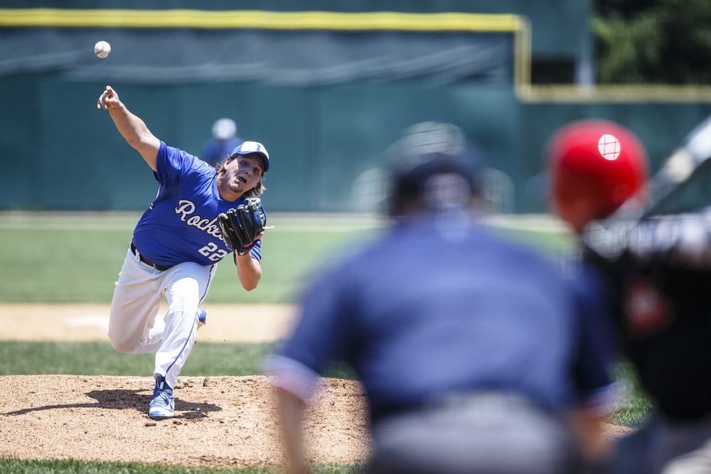 Bartonville Limestone's Tanner Rhoades (22) delivers a pitch against Springfield in the first inning during the IHSA Class 3A State Tournament semifinals at Silver Cross Field, Friday, June 10, 2016, in Joliet, Ill. Justin L. Fowler/The State Journal-Register