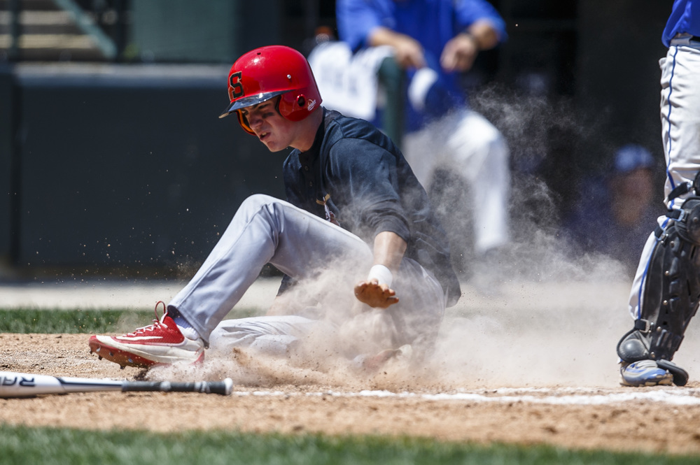 Springfield's Trevor Minder (2) slides safely into home to score a run on a sacrifice fly in the second inning against Bartonville Limestone during the IHSA Class 3A State Tournament semifinals at Silver Cross Field, Friday, June 10, 2016, in Joliet, Ill. Justin L. Fowler/The State Journal-Register