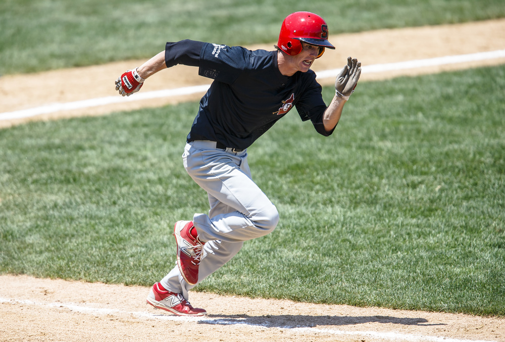 Springfield's Austin Alderman (5) takes off to first base on a single in the third inning against Bartonville Limestone during the IHSA Class 3A State Tournament semifinals at Silver Cross Field, Friday, June 10, 2016, in Joliet, Ill. Justin L. Fowler/The State Journal-Register