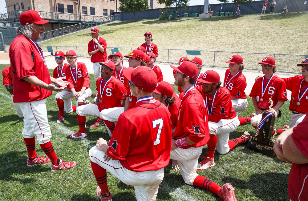 "Springfield baseball head coach Jim Steinwart tells his team to be proud of their accomplishments after being defeated by Lemont 10-0 in the IHSA Class 3A State Tournament Championship at Silver Cross Field, Saturday, June 11, 2016, in Joliet, Ill. ""This was an amazing season, you should be so stinking proud,"" said Steinwart. Justin L. Fowler/The State Journal-Register"
