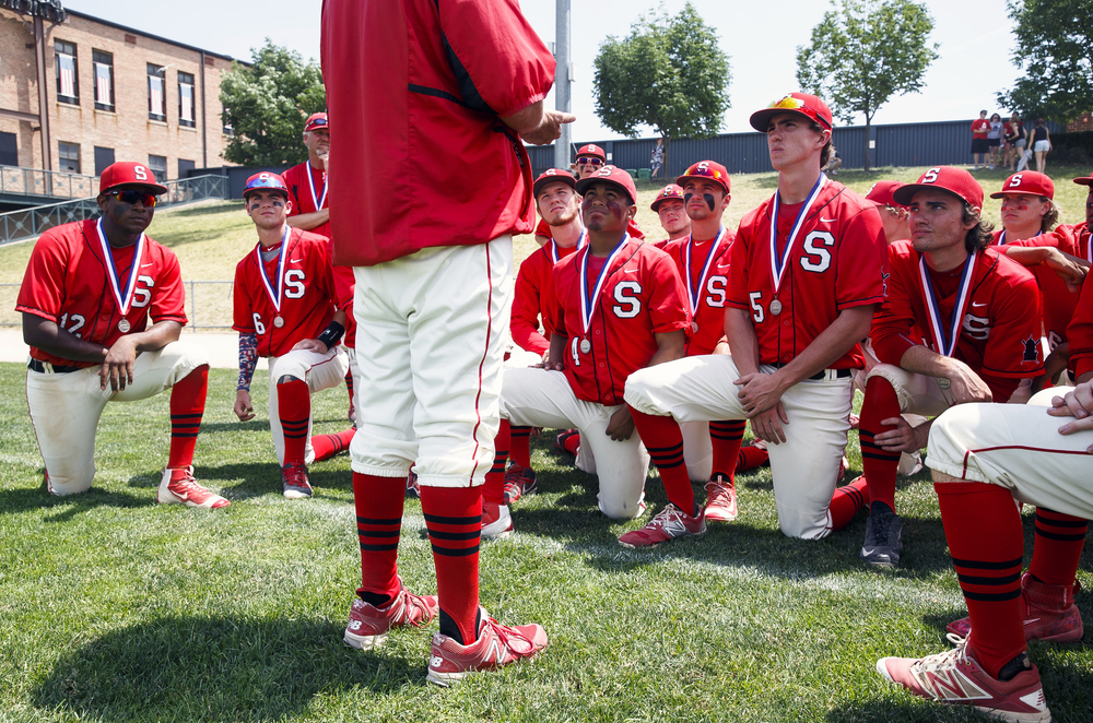Springfield's Austin Alderman (5) and the Senators listen to Springfield baseball head coach Jim Steinwart as he tells them to be proud of their accomplishments for the season after losing 10-0 to Lemont in the IHSA Class 3A State Tournament Championship at Silver Cross Field, Saturday, June 11, 2016, in Joliet, Ill. Justin L. Fowler/The State Journal-Register
