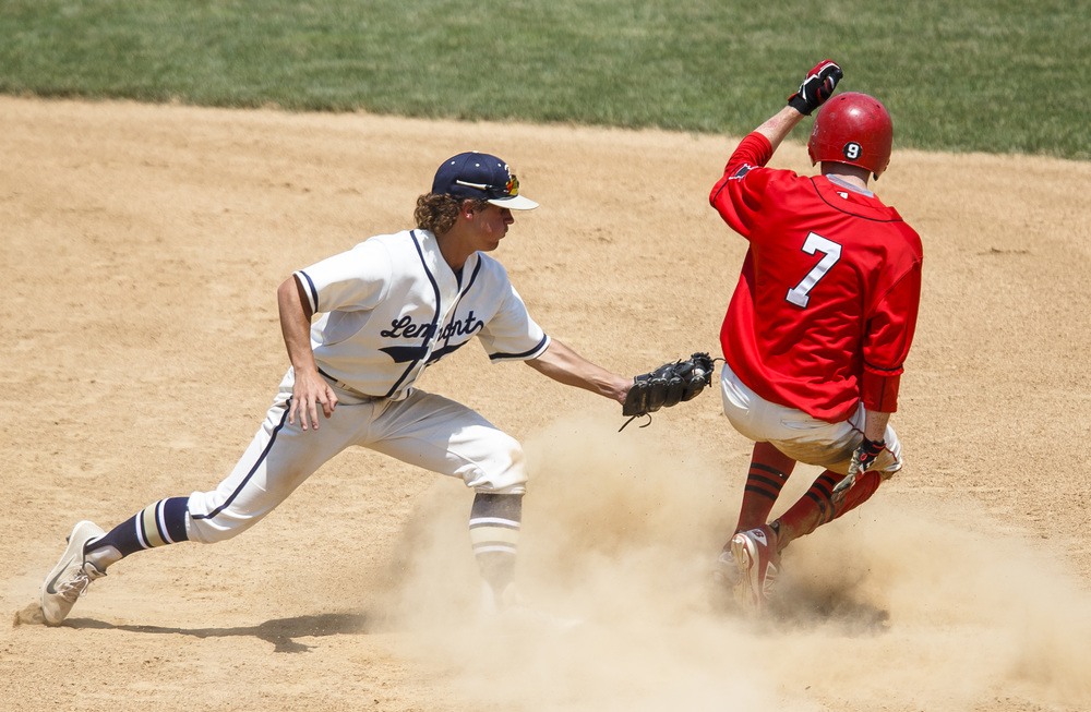 Springfield's Luke Ketchum (7) slides safely into second base against Lemont's Dominic Connolly (3) for a stolen base in the fifth inning during the IHSA Class 3A State Tournament Championship at Silver Cross Field, Saturday, June 11, 2016, in Joliet, Ill. Justin L. Fowler/The State Journal-Register