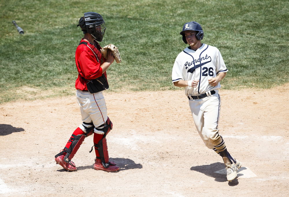 Lemont's Jake Leibfritz (26) scores a run on a bases loaded walk against Springfield in the fifth inning during the IHSA Class 3A State Tournament Championship at Silver Cross Field, Saturday, June 11, 2016, in Joliet, Ill. Justin L. Fowler/The State Journal-Register