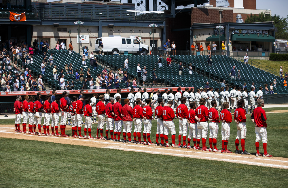 The Springfield Senators and the Lemont Indians take the field for the National Anthem prior to the start of the IHSA Class 3A State Tournament Championship at Silver Cross Field, Saturday, June 11, 2016, in Joliet, Ill. Justin L. Fowler/The State Journal-Register