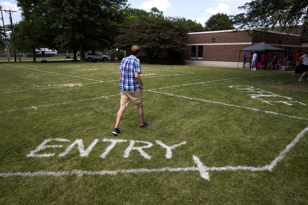 To help visualize the addition to Lutheran High School, an outline of the building was painted on the grass Saturday, June 11, 2016. Rich Saal/The State Journal-Register