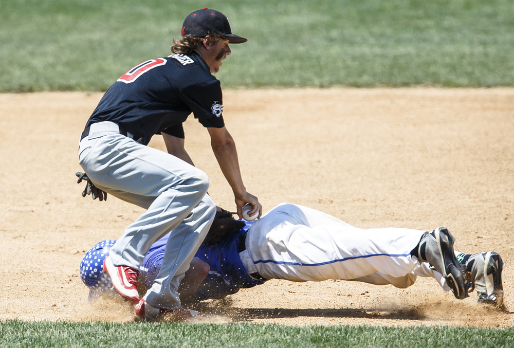 Springfield's Jake Langellier (10) tags out Bartonville Limestone's James Welton (2) in a run down in the third inning during the IHSA Class 3A State Tournament semifinals at Silver Cross Field, Friday, June 10, 2016, in Joliet, Ill. Justin L. Fowler/The State Journal-Register