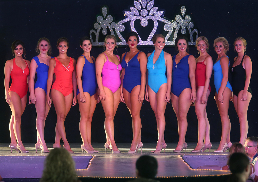 Contestants line up during the swimsuit portion of the pageant Wednesday night. David Spencer/The State Journal-Register