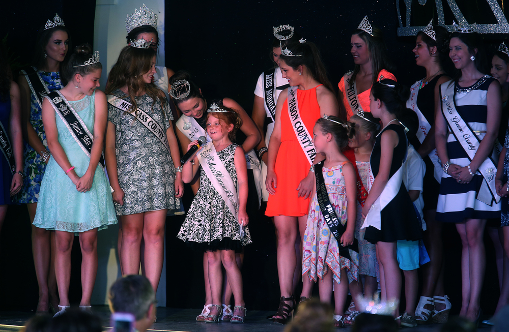 Visiting Royalty from around the state of Illinois introduced themselves onstage during the pageant, including 2015 Little Miss Hancock County Fair Wednesday night. David Spencer/The State Journal-Register