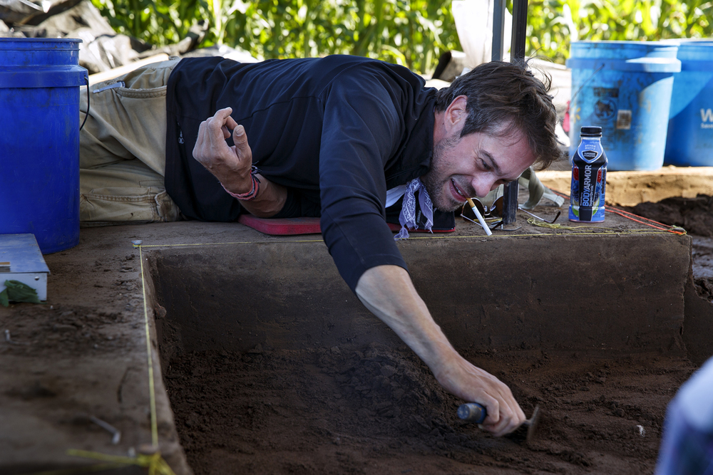 Joshua Myers scrapes soil from one of the cells at the Cass County site June 7, 2016. Rich Saal/The State Journal-Register