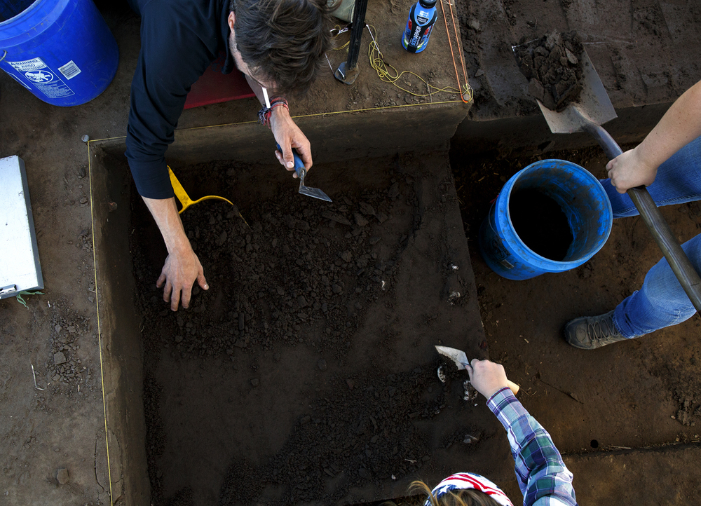 Joshua Myers, top, Caitlyn Turner, right, and Elise Razzano excavate cells at the Cass County site June 7, 2016. Rich Saal/The State Journal-Register