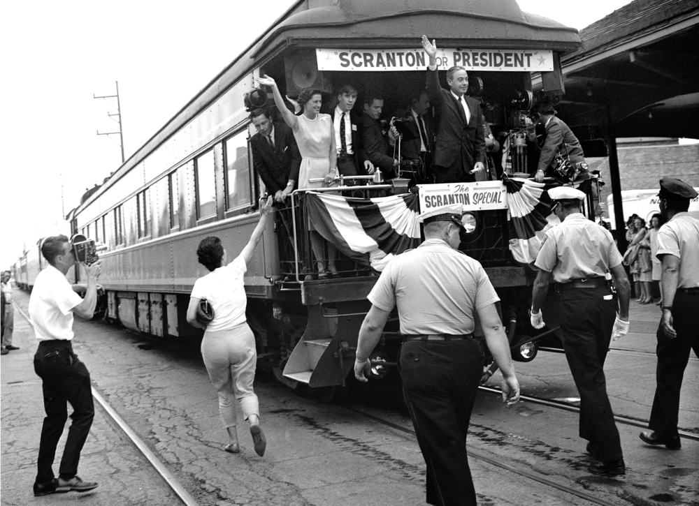 Pennsylvania Gov. William Scranton campaigns for Republican nomination for president with campaign stop at Illinois Central Railroad (Union Station) July 7, 1964. File/The State Journal-Register
