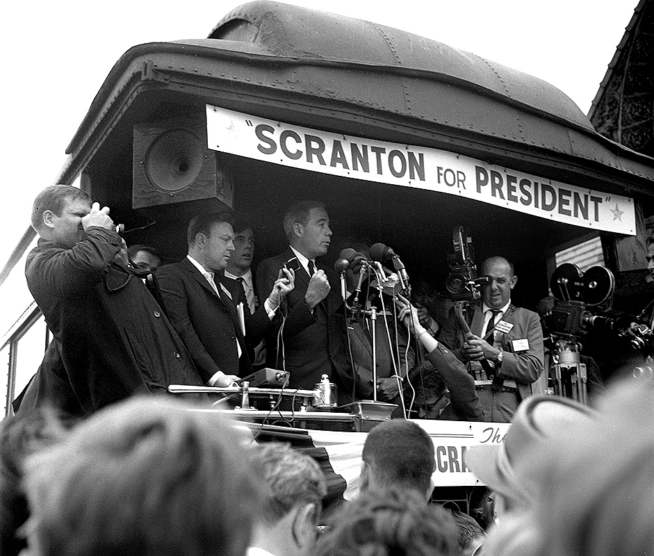 Pennsylvania Gov. William Scranton campaigns for the Republican nomination for president at Illinois Central Railroad (Union Station) July 7, 1964. File/The State Journal-Register