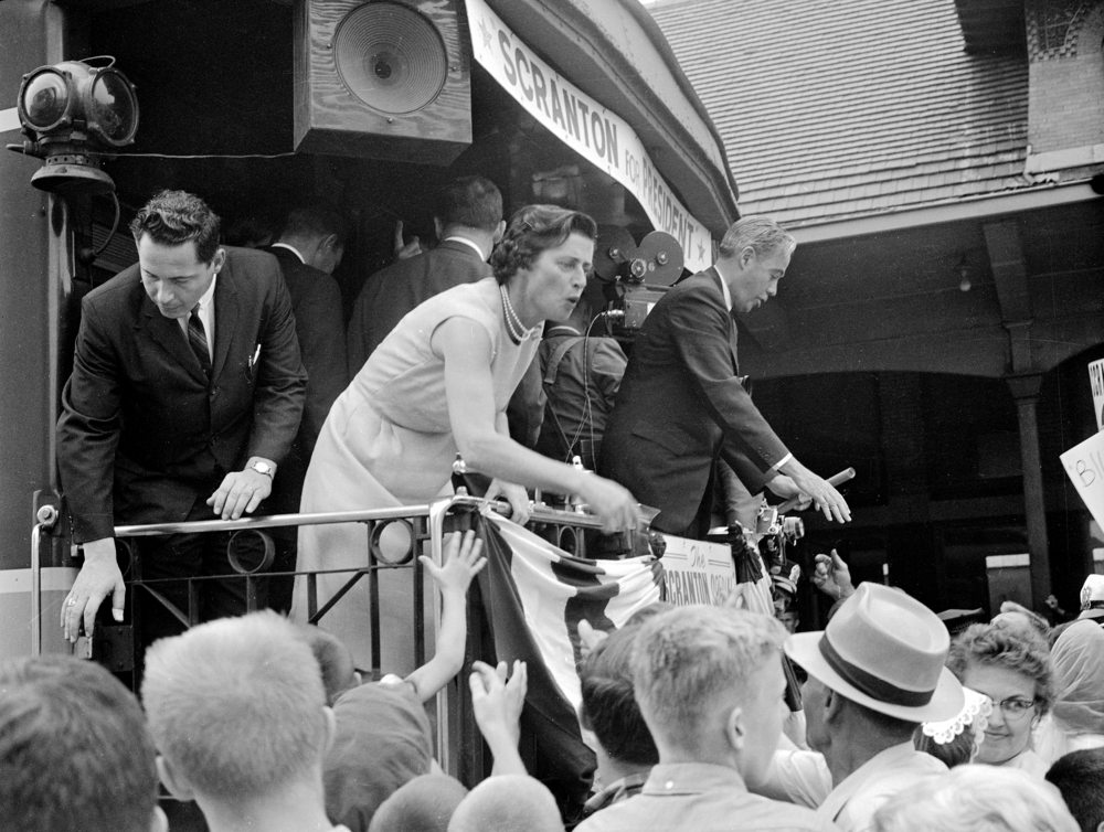 Pennsylvania Gov. William Scranton campaigns for the Republican nomination for president with his wife Mary the at Illinois Central Railroad (Union Station) July 7, 1964. File/The State Journal-Register