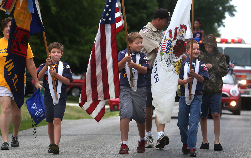 Members of New Berlin Cub Scout Pack 320 were the Color Guard leading off the parade Saturday morning. David Spencer/The State Journal-Register
