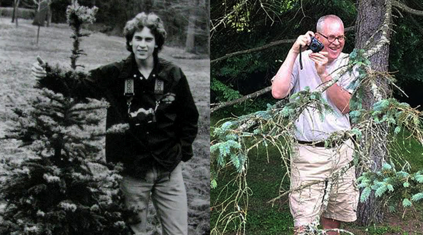 "Same tree 35 years apart: in 1981 with my first ""real"" camera, a Canon AE-1, and in 2016."