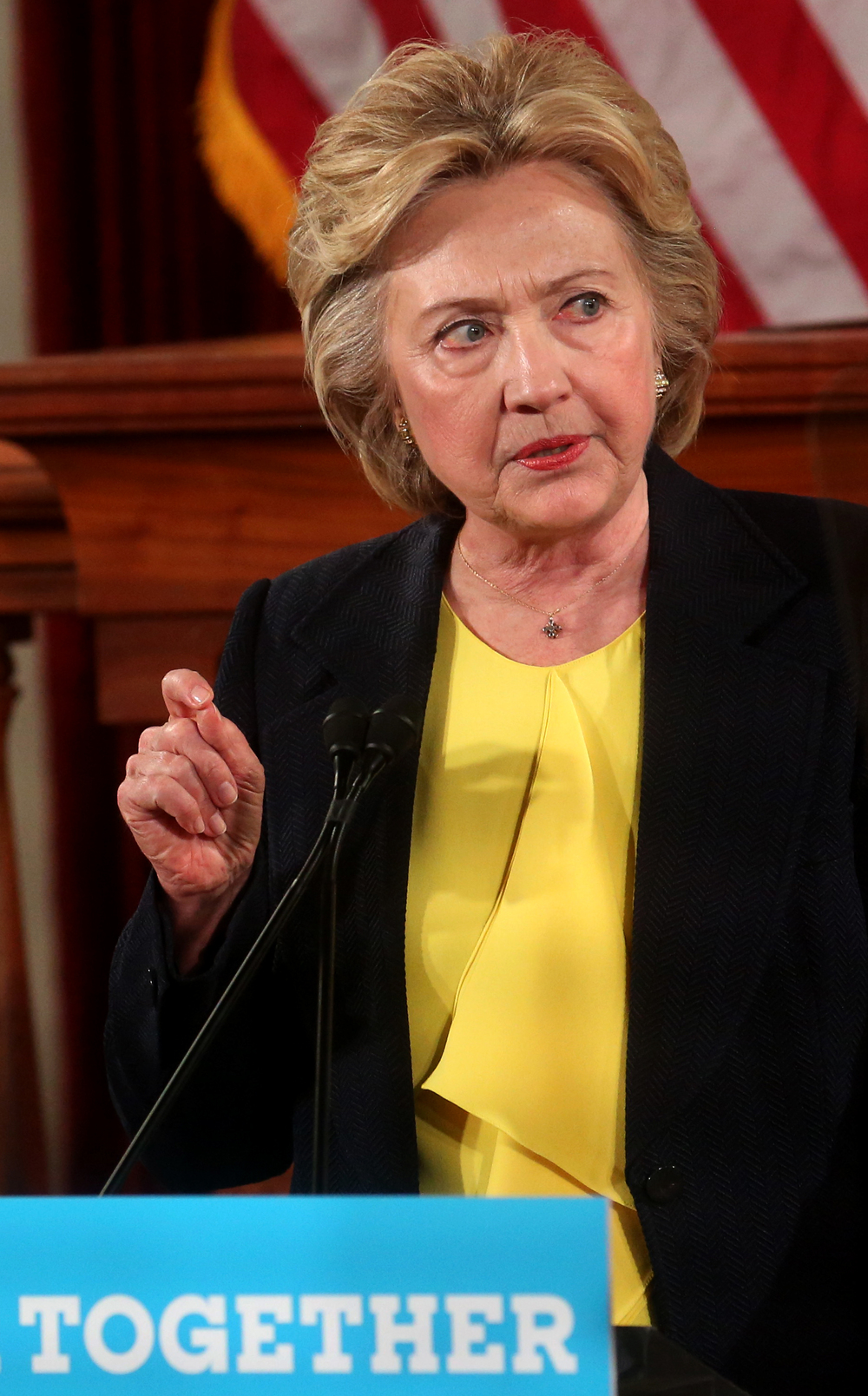 Hillary Clinton makes a point while delivering her speech inside Representatives Hall Wednesday. David Spencer/The State Journal-Register